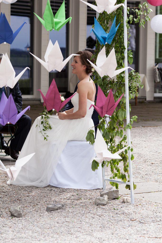 DIY Papierkraniche als Hochzeitsdekoration bringen Glück