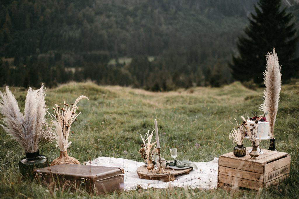 Heiratsantrag und Hochzeitspicknick in den Alpen