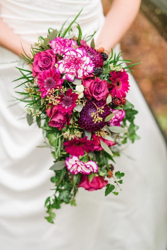 Brautstrauß pink   Blumenstrauß Hochzeit   Strauß & Fliege